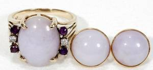 121154 GOLD LAVENDER JADE DIAMOND  AMETHYST RING