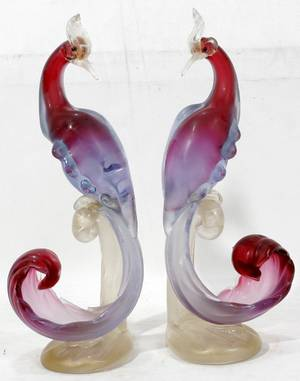041132 VENETIAN GLASS BIRDS PAIR 14