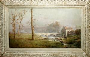 032077 H IRVING MARLATT OIL ON CANVAS STONE BRIDGE