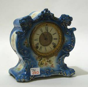Ansonia Tempest porcelain case mantle clock