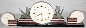 020072 ART DECO MARBLE CLOCK GARNITURE SET 3 PCS