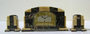 UCRA art deco marble clock garniture