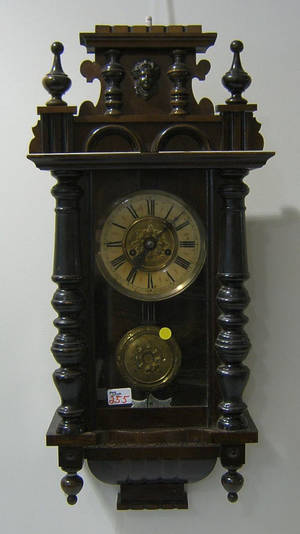Continental Victorian mahogany regulator wall clock