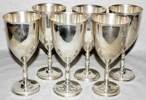 021150 MEXICAN STERLING GOBLETS JUVENTO LOPEZ REYES