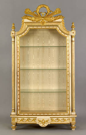 French Louis XV style gilt and ivory painted curio 19th c