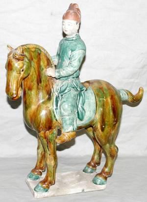 010080 TANG STYLE POTTERY FIGURE OF MAN ON HORSEBACK