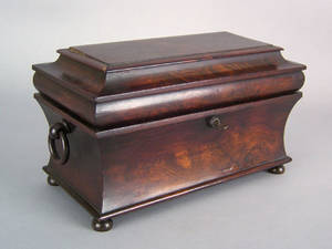 English rosewood tea caddy ca 1830