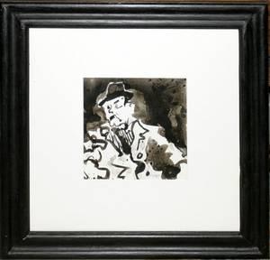 122081 RICHARD JERZY INK DRAWING MAN IN SUIT W HAT