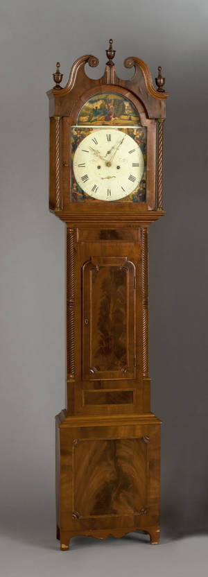 Scottish mahogany tall case clock early 19th c