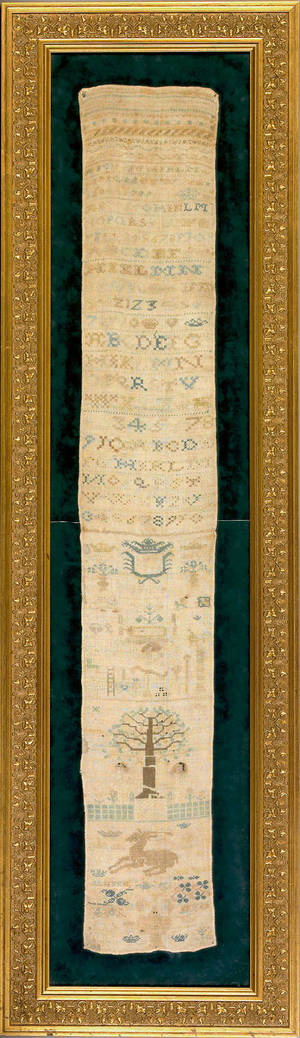 English silk on linen band sampler dated 1733