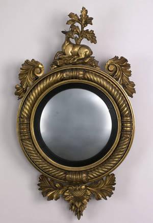 English giltwood convex mirror ca 1800