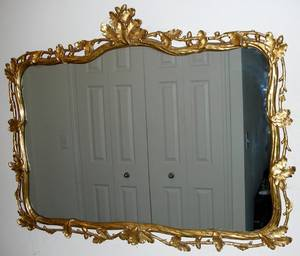 111150 FRENCH STYLE GILT WOOD  GESSO MIRROR
