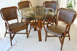 040141 BENT WOOD  CANE DINING ROOM TABLE  CHAIRS