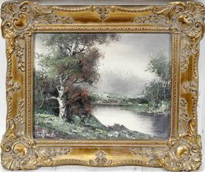 032139 OIL PAINTING C1960 SMALL RIVER WTREES