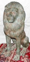 021165 BRONZE SEATED LION GARDEN SCULPTURE 20TH C