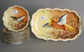 Limoges 10pc service with painted bird decoration