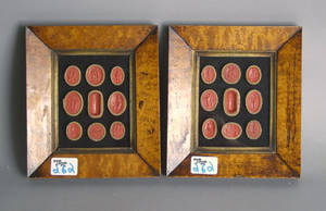 Group of framed wax seals
