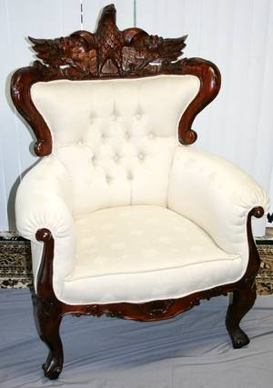120140 CARVED EAGLE MOTIF MAHOGANY WING BACK CHAIRS