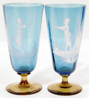111215 MARY GREGORY ENAMELED GLASS TUMBLERS PAIR