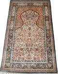 032168 SIGNED ORIENTAL SILK PRAYER RUG 61x30
