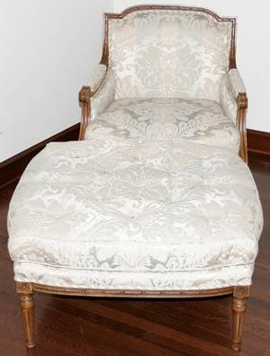 022144 BAKER LOUIS XVI STYLE WALNUT BERGRE CHAIR