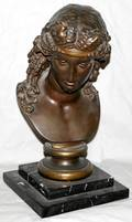 012133 F BARBEDIENNE FOUNDRY BRONZE BUST OF A WOMAN