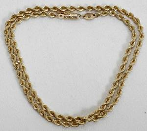 111250 14K YELLOW GOLD SILK ROPE NECK CHAIN L19