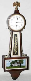 111238 NEW HAVEN CLOCK CO MAHOGANY BANJO CLOCK