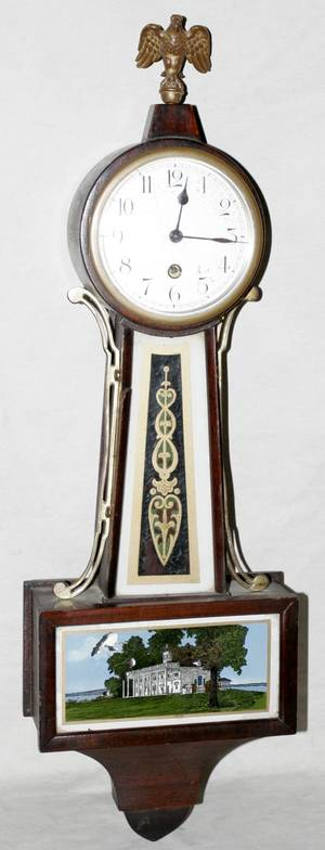 111238 NEW HAVEN CLOCK CO MAHOGANY BANJO CLOCK