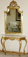 110171 FRENCH GILT MIRROR  MARBLE TOP CONSOLE TABLE