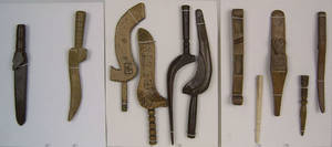 Group of 11 English and European knitting sheaths and sticks of various forms 18th and 19th c
