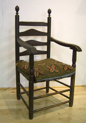 New Jersey William  Mary 4slat ladderback armchair ca 1730