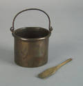 Peter Derrs personal copper flux bucket and wooden paddle mid 19th c