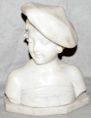 012143 A GARMAN MARBLE SCULPTURAL BUST OF GIRL