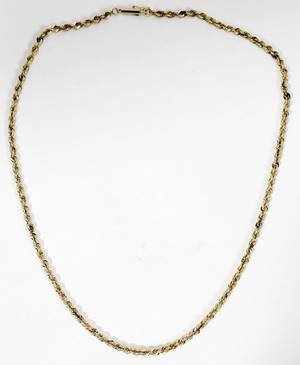 110235 14K YELLOW GOLD TWIST ROPE CHAIN NECKLACE