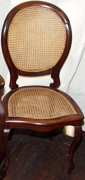 010250 QUEEN ANNE STYLE MAHOGANY  CANE DINING CHAIRS