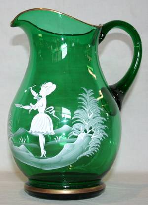 121392 MARY GREGORY GREEN GLASS WATER PITCHER