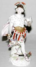 120271 GERMAN HANDPAINTED PORCELAIN FIGURE WARRIOR