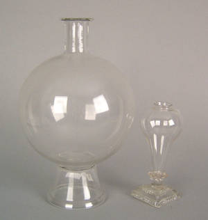 Colorless blown glass footed magnifying globe earlymid 19th c