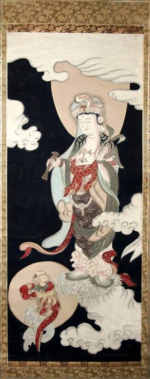 031413 JAPANESE SCROLL PAINTING ON SILK GODDESS