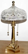022260 CRYSTAL  BRASS LAMPS WDOME SHADES MODERN