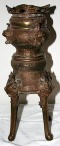 021333 CHINESE BRONZE INCENSE BURNER H155 DIA75