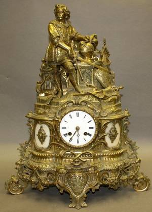 012224 FRENCH BRONZE MANTLE CLOCK 19TH C