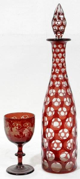 011373 FLASHED RUBY  ETCHED GLASS DECANTER  GOBLET