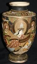 122299 JAPANESE SATSUMA PORCELAIN VASE W FIRED GOLD