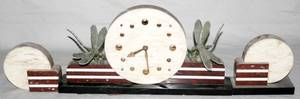 120311 ART DECO MARBLE CLOCK GARNITURE THREE PIECES