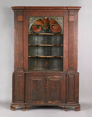 Painted barrel back pine two part corner cupboard probably English mid 18th c