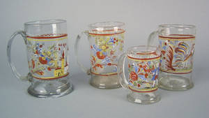 Four Stiegel type clear glass mugs early 19th c