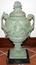 022287 AFTER AUGUST MOREAU BRASS URN ON MARBLE BASE