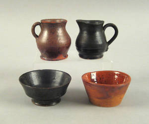 Two miniature glazed redware pitchers 19th c